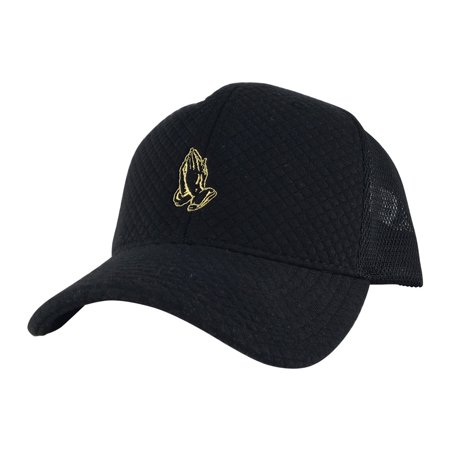 8c4f3db662db2 Pray Wish Hand Mid Crown Adjule Snapback Hat Trucker Cap Black