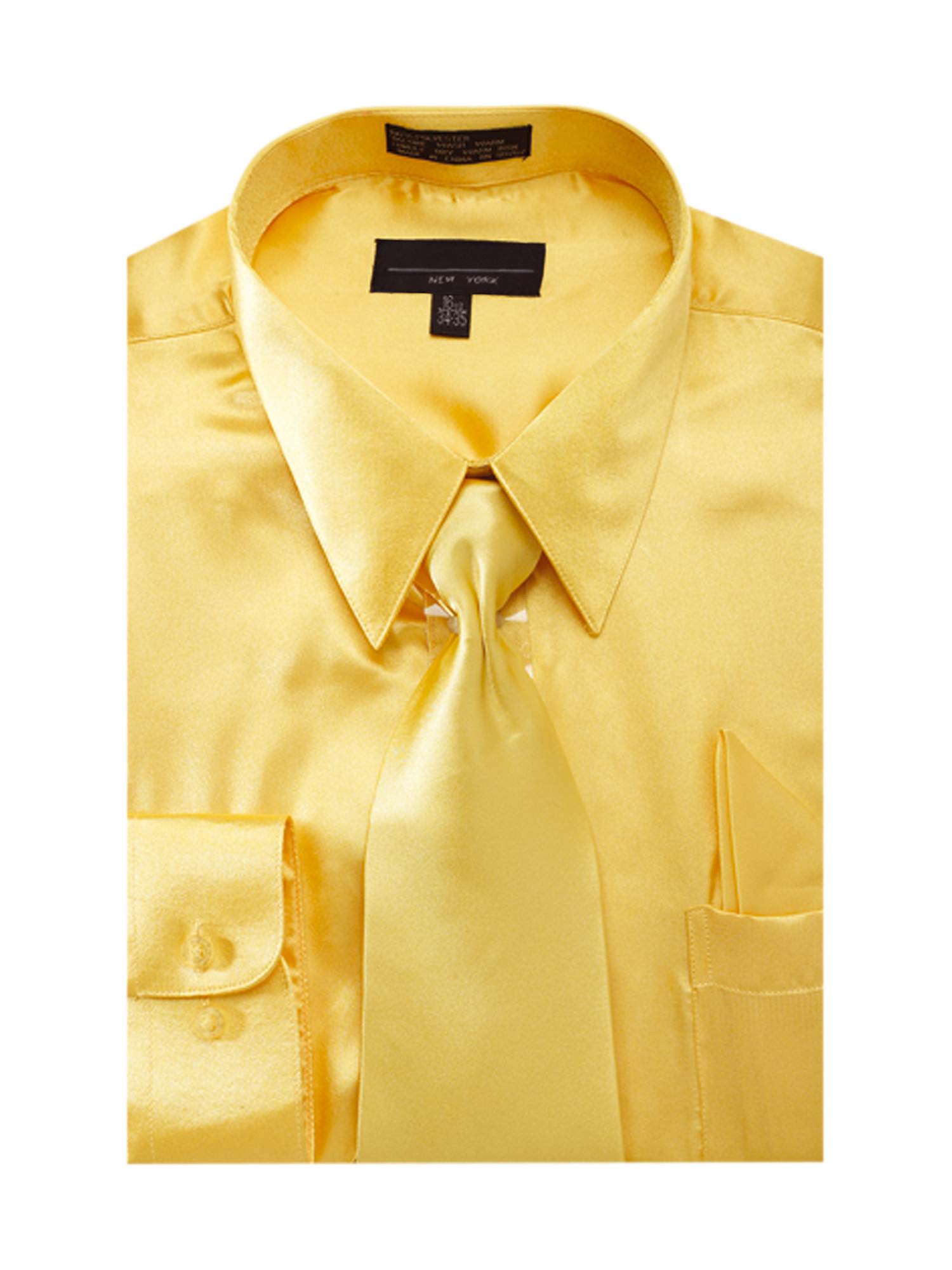 Men's Solid Color Satin Dress Shirt Tie and Hanky Set
