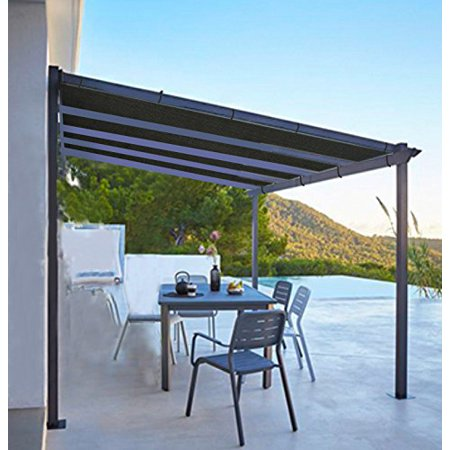 Shatex Shade Panel Block 90% of UV Rays with Ready-tie up Ribbon for Pergola/Greenhouses/Carport/Porch 10x12ft Black ()
