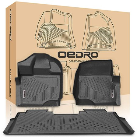 Cab 2nd Row Mats (oEdRo F150 Floor Mats Liners SuperCrew Cab Compatible for 2015-2019 Ford f150- Unique Black TPE All-Weather Guard, Includes 1st & 2nd Front Row and Rear Floor Liner Full)