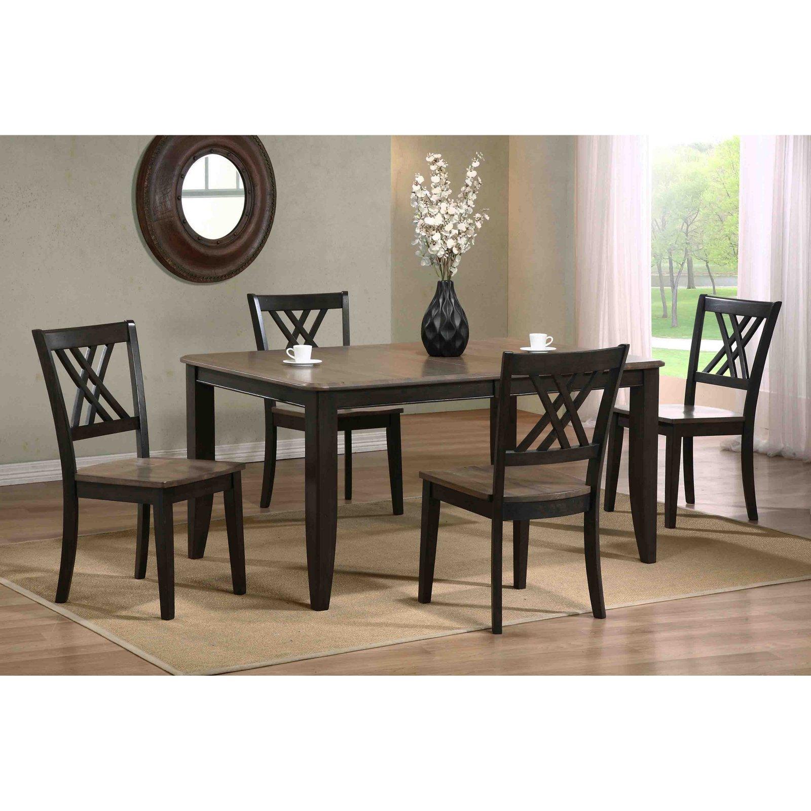 Iconic Furniture 5 Piece Rectangular Dining Table Set - Gray Stone / Black Stone