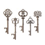 50 Key Bottle Openers Assorted Vintage Skeleton Keys Wedding Favors (50, Charcoal)