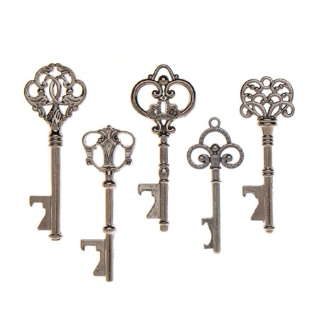 50 Key Bottle Openers Assorted Vintage Skeleton Keys Wedding Favors (50, Charcoal)](Key Bottle Openers)