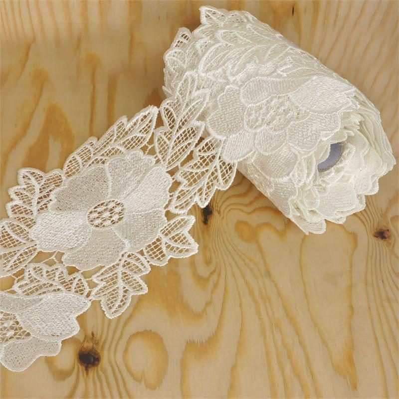 "Efavormart Poppilicious Crocheted Heavy Lace Ribbon Trim 5.3"" x 5yards - White"