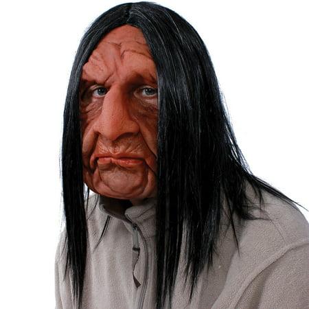 Roadie Old Man Rocker Latex Mask - Halloween Costume - Shoulder Length Hair