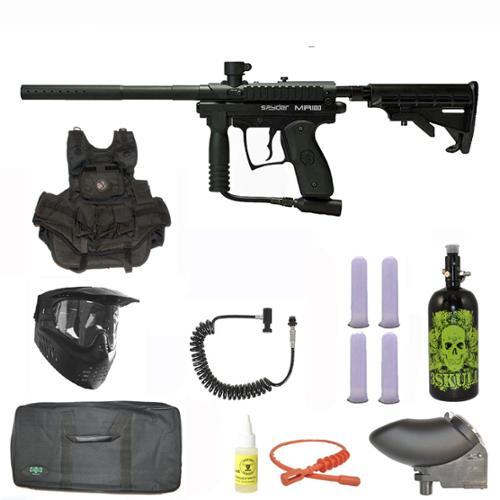 Spyder MR100 Pro Paintball Marker Gun 3Skull Nitro Vest Sniper Set - Black