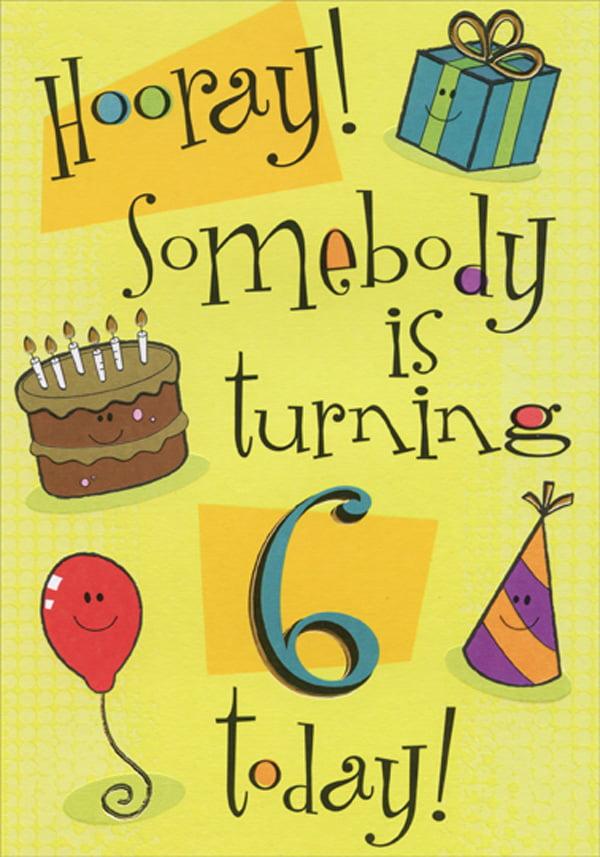 Awe Inspiring Designer Greetings Hooray Gift Cake Hat And Balloon Age 6 6Th Personalised Birthday Cards Veneteletsinfo