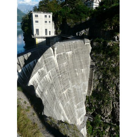 Canvas Print Lake Water Electricity Dam Alps Mountain Stretched Canvas 10 x -