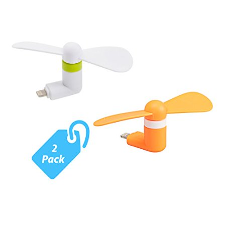 StyleTech Portable Cool Mini Rotating Fan for Apple Lightning Port Compatible with iPhone/iPods/iPad [2 Pack]