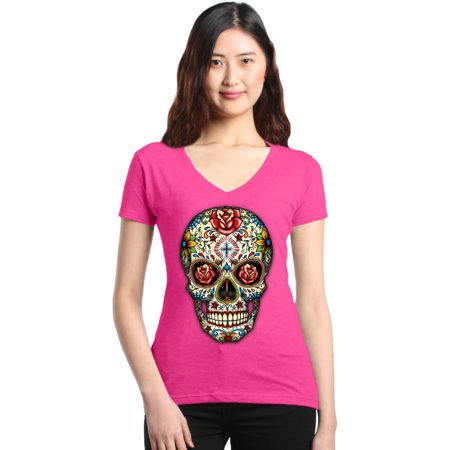 Shop4Ever Women's Skull Red Roses Day of the Dead Slim Fit V-Neck T-Shirt - Dead Rose