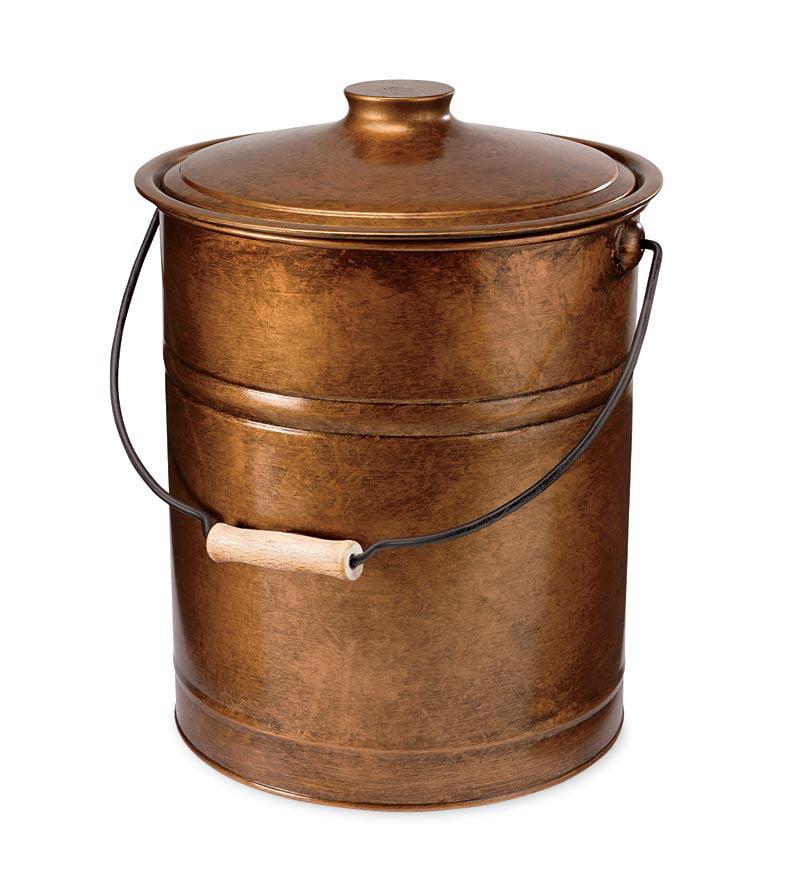 Double-Bottom Galvanized Steel Ash Bucket w/ Handle, in Copper