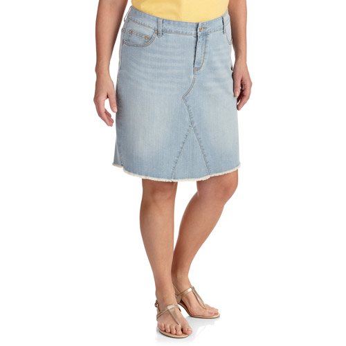 Faded Glory Womenu0026#39;s Plus-Size Frayed Denim Skirt - Walmart.com