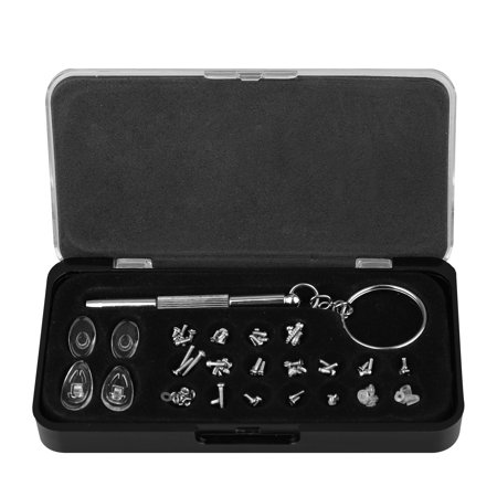 Eyeglasses Repair Kit – Small Screws and Nose Pads Set with Screwdriver for Glasses, Eye Glasses and Sunglasses Repair ()