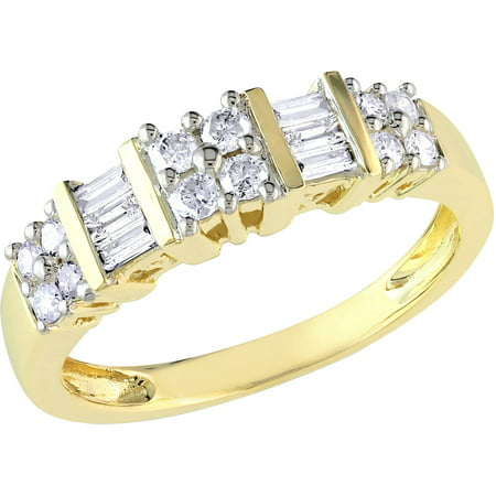 Miabella 1/2 Carat T.W. Round and Baguette-Cut Diamond 14kt Yellow Gold Wedding Band