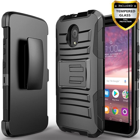 best loved bc32c bd493 Alcatel TCL LX Phone Case, Dual Layers [Combo Holster] Case And Built-In  Kickstand Bundled with[Tempered Glass Screen Protector]And Circlemalls  Stylus ...