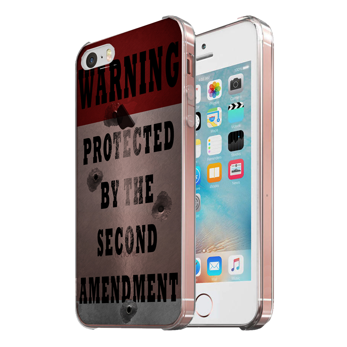 KuzmarK Clear Cover Case fits iPhone SE & iPhone 5 - Warning Second Amendment Bullet Holes