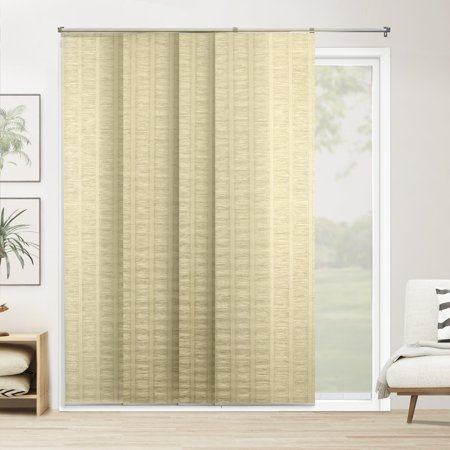 Siding Panels - Chicology Adjustable Sliding Panels, Cut to Length Vertical Blinds, Florence Maize (Privacy & Natural Woven) - Up to 80