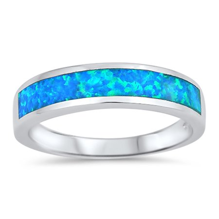 - CHOOSE YOUR COLOR Long Stripe Blue Simulated Opal Wedding Ring New .925 Sterling Silver Band (Blue Simulated Opal/Ring Size 4)