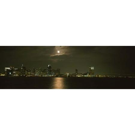 Skyscrapers lit up at night Coronado Bridge San Diego California USA Poster Print