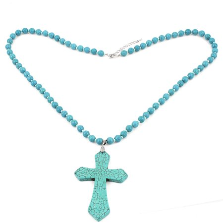 Women Cross Dangling Pandent Beads Detail Turquoise Stone Necklace Teal Dangling Shell Cross