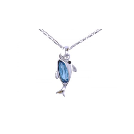 Crystal Elements Aquamarine Tone Dolphin Silver Metal Esque (Esque Inspired Jewelry)