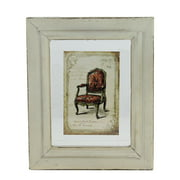 """7.25"""" x 6"""" Decorative Antique Style Beige and Red Victorian Chair Print Framed Wall Art"""