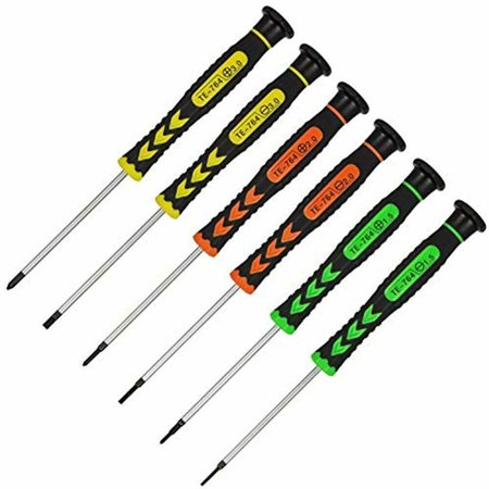 6Pcs Precision Screwdrivers, Non-slip And Long Rotatable Handle Flathead Cross
