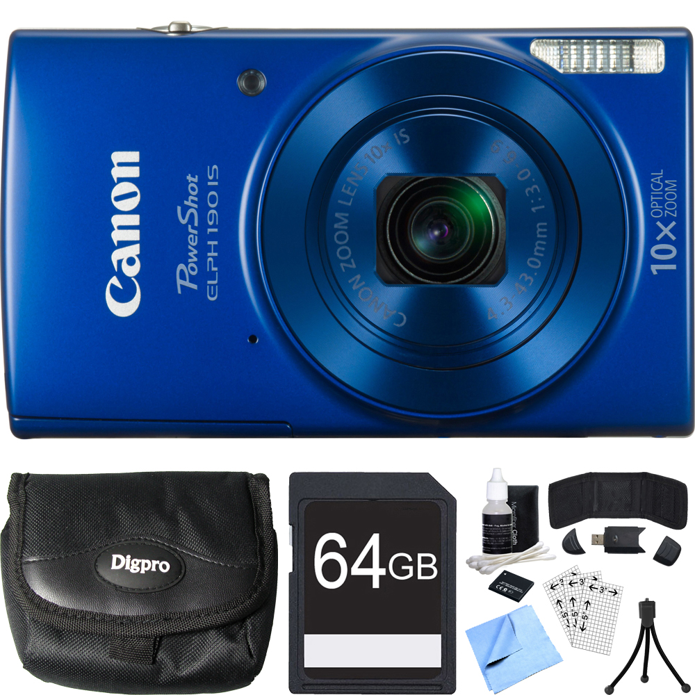 Canon PowerShot ELPH 190 IS Blue Digital Camera 64GB Card Bundle includes Camera, 64GB Memory Card, Reader, Wallet, Case, Battery, Mini Tripod, Screen Protectors, Cleaning Kit and Beach Camera Cloth