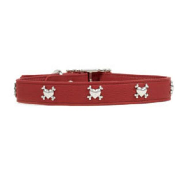 Rockinft Doggie Leather Collar with Heart-Bones Rivet