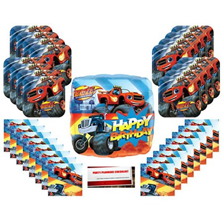 Blaze and the Monster Machines Party Supplies Bundle Pack for 16 (with 18 Inch Balloon Plus Party Planning Checklist by Mikes Super Store) - Party Store Omaha