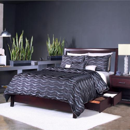 Espresso Floating Panel Low-profile Storage Bed Twin