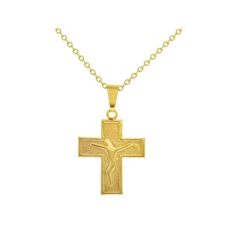 "18k Gold Plated Flat Cross Crucifix Jesus Christ Pendant Religious Necklace  19"""