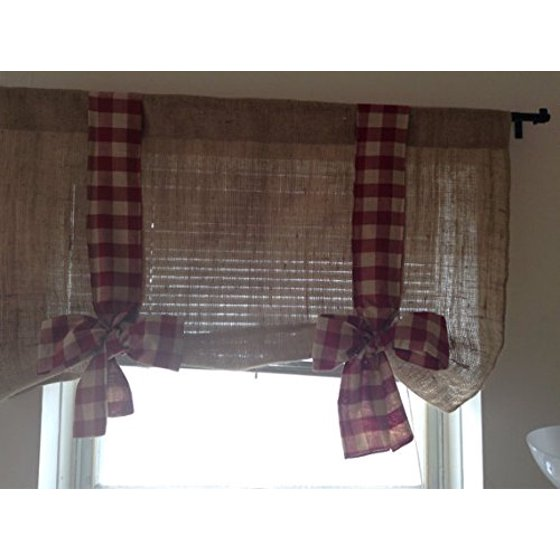 Valance W Burlap Ties And: KM Curtains Burlap Tie Up Valance With Burgundy Gingham 40 X 28