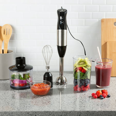 Immersion Blender-4-In-1 6 Speed Hand Mixer Set Whisk, Food Processor Cup, 32oz. Beaker, For Soup, Milkshakes, Salsa, and More by Classic Cuisine ()