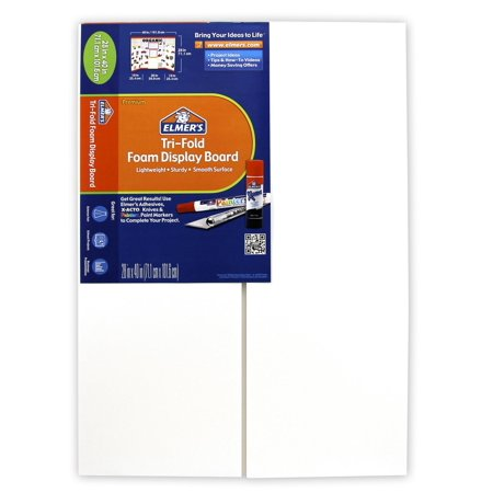 Elmer's Tri-Fold Foam Display Board, White, 28x40 Inch 2 Door Presentation Board