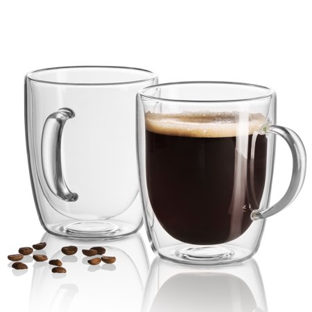 - Set of 2 double wall insulated Glass Coffee Mugs 17 Oz