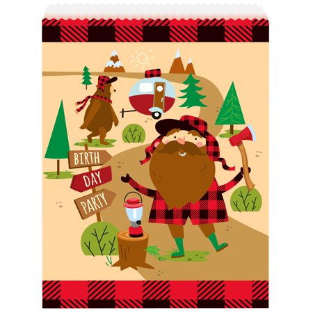 Buffalo Plaid Lumberjack Birthday Paper Goodie Bags, 8.75 x 6.5 in, 8ct