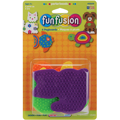 Perler Fun Fusion Bead Pegboards, 4-Pack, Dog/Fish/Cat/Turtle