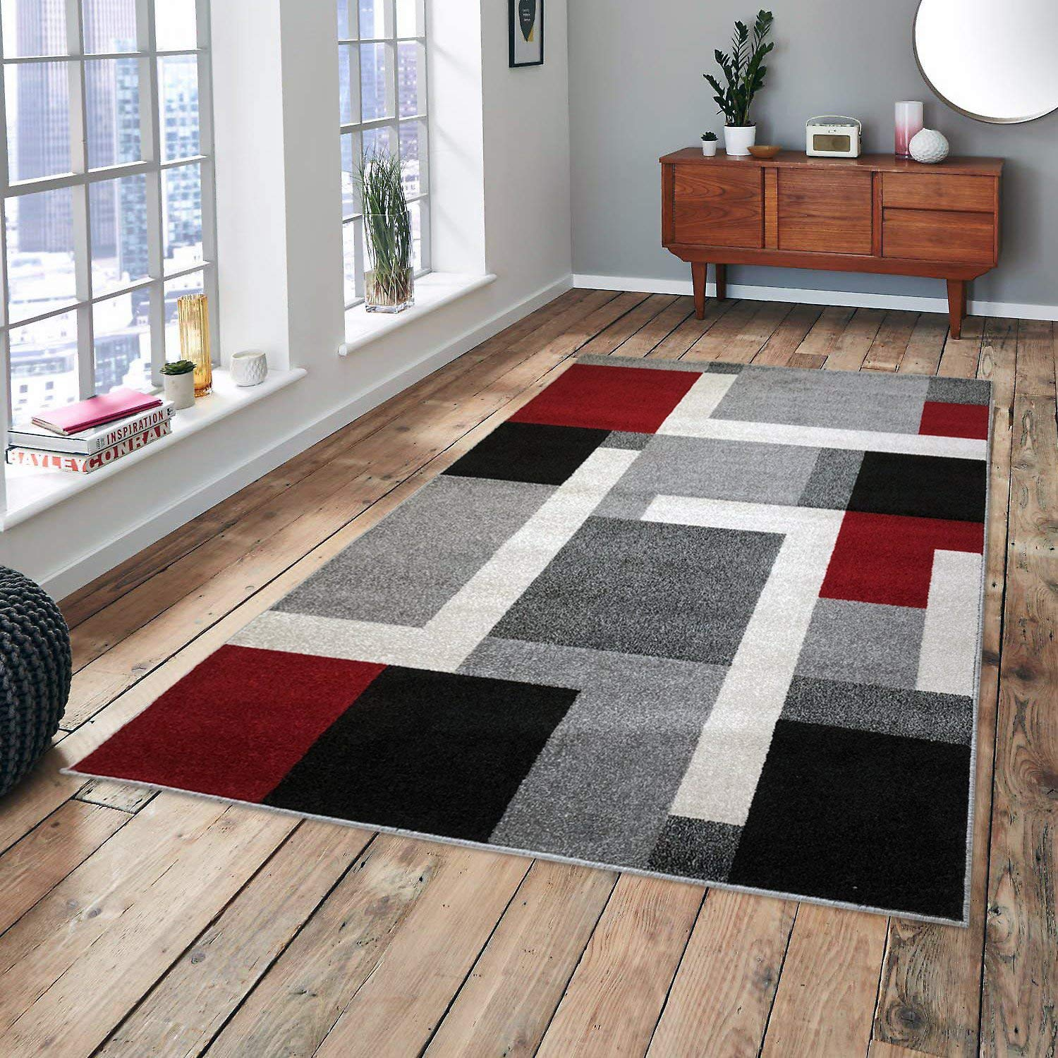 Cosi Collection Easy Clean Stain and Fade Resistant Modern Integra Area Rug for Bedroom Kitchen Dining Living Room, Modern Geometric Space Design (Size 5' x 7' Feet)