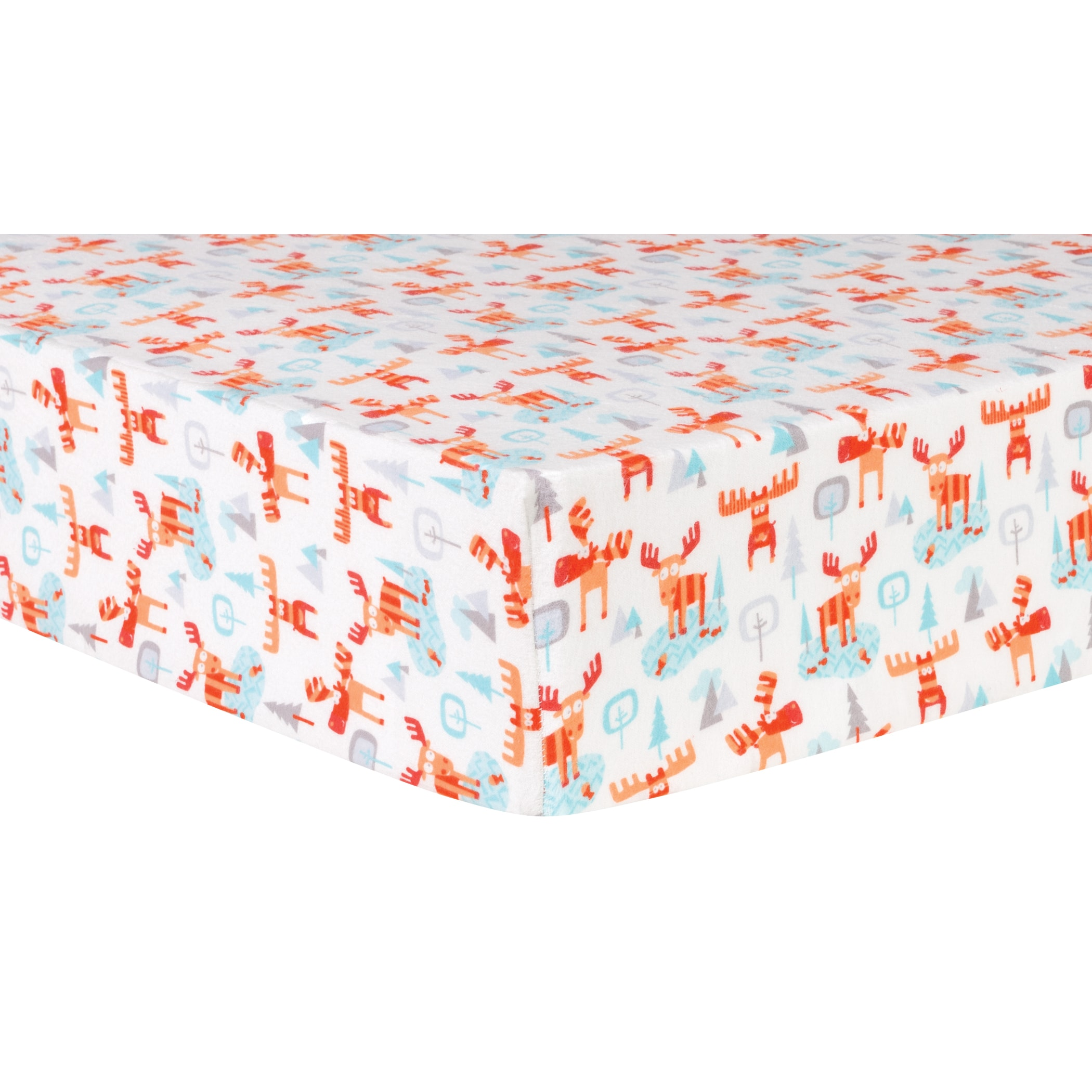 Winter Moose Deluxe Flannel Fitted Crib Sheet