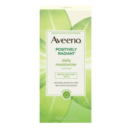 Aveeno Positively Radiant Daily Face Moisturizer SPF 15 & Soy, 4 fl. (Best All Day Sun Cream)