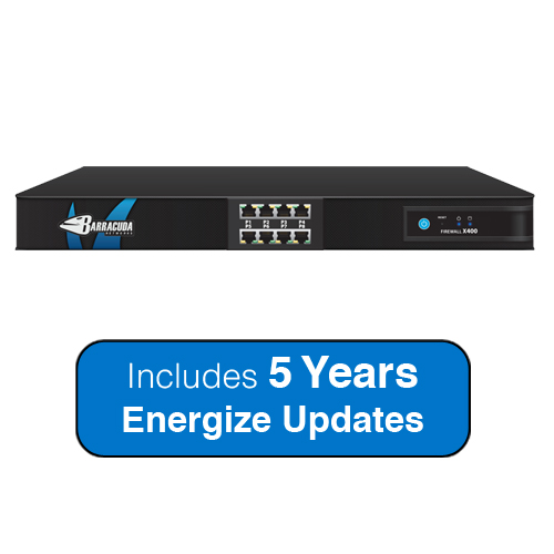Barracuda Networks Next-Generation Firewall X400, 2.5 Gbps Firewall Throughput, 8 x GbE Ports with 5 Years Energize... by Barracuda Networks