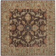 Hand-tufted Traditional Coliseum Chocolate Floral Border Wool Area Rug (6' Square)