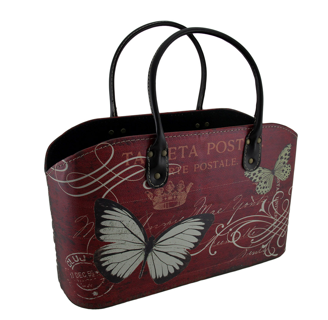 Red Faux Leather Butterfly & Vintage Postcard Print Storage Bag Basket