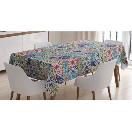 Moroccan Tablecloth, Geometric Squares and Rectangles Colorful and Complex Design Floral Arrangement, Rectangular Table Cover for Dining Room Kitchen, 52 X 70 Inches, Multicolor, by Ambesonne ()