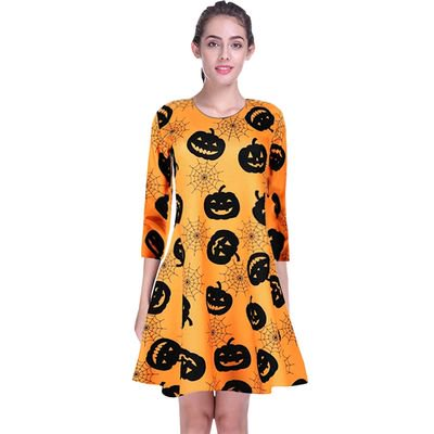 Yves Halloween Woman's Round Neck Long Sleeve Personality Pumpkin Horror Spider Web Print Dress - Horror Halloween Pumpkin