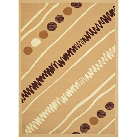 - United Weavers Cafe Area Rugs - 950-10926 Contemporary Beige Stripe Dots Lines Squiggles Rug
