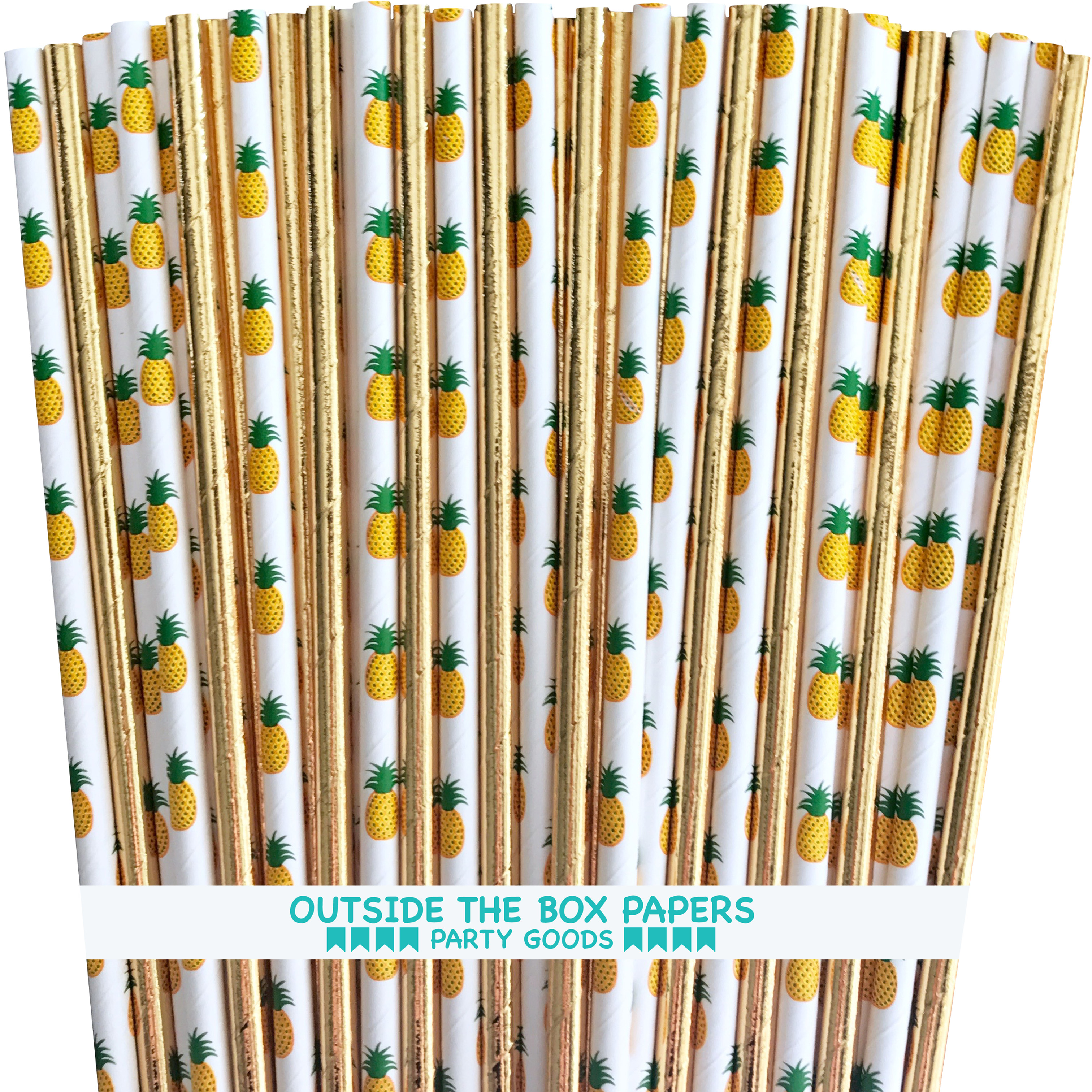 Pineapple Theme and Gold Foil Paper Straws 7.75 Inches 100 Pack