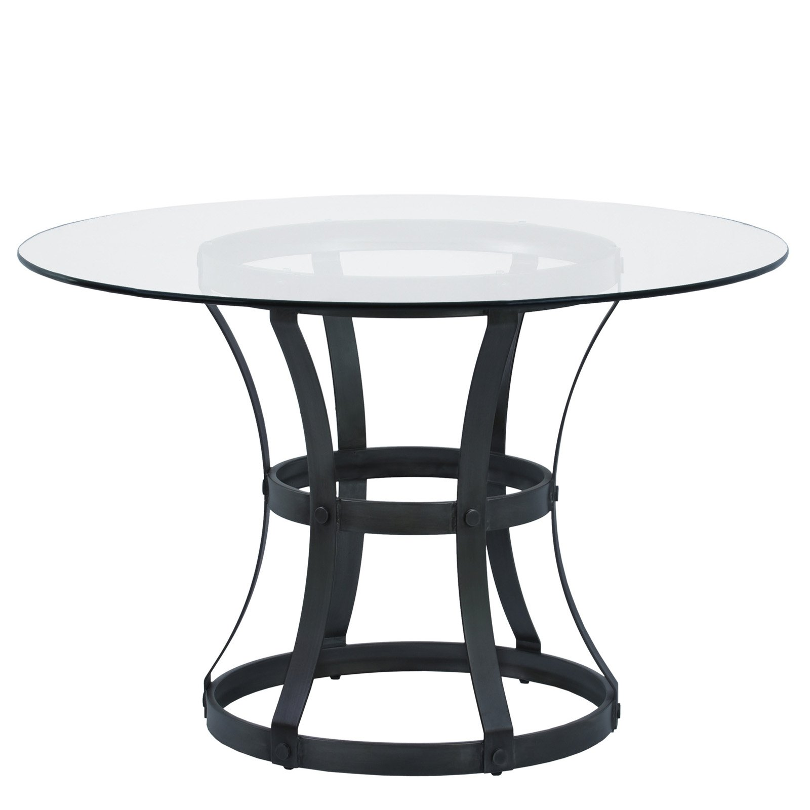 "Armen Living Vancouver Round Dining Table with Finish and 48"" Glass Top"