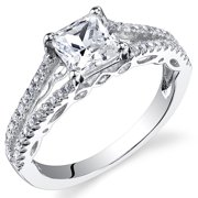 1.29 Ct Princess Cut Cubic Zirconia Engagement Ring in Rhodium-Plated Sterling Silver